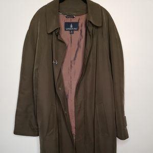 London Fog Mens 42 Short Olive Trench Coat